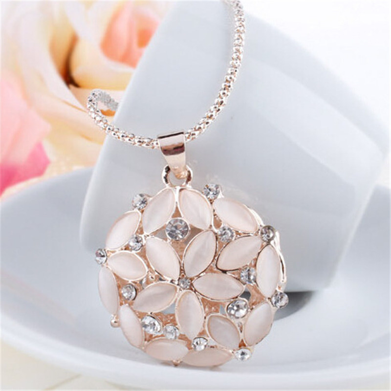 LNRRABC Women Hollow Out 3D Opal Crystal Flower Long Pendants