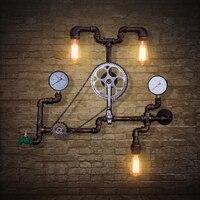 Водопроводные трубы Американский кафе бар настенные светильники Ретро Лофт Промышленные ветряные трубы настенный светильник железное дек