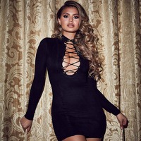 HAGEOFLY 2018 Long Sleeve Bandage Dress Sexy Mini Yellow Red Black Deep V Lace Up Neck Party Dresses Vestidos Female Club New