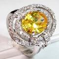Морганит кубический цирконий романтический ювелирные изделия серебро кольцо красивая gR4a24 sz # 8 9