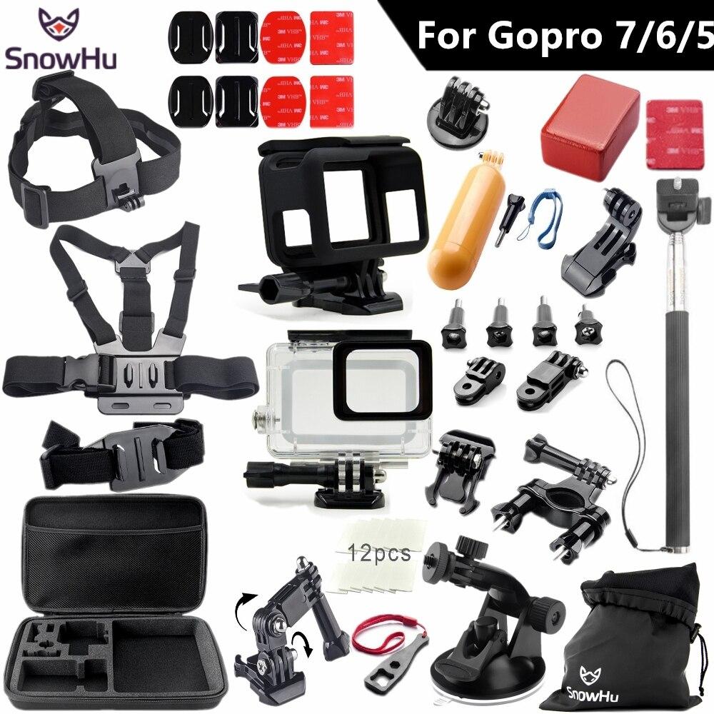 SnowHu pour Gopro 7 6 5 accessoires set pour gopro hero 7 6 5 étui de protection poitrine monopode pour gopro hero 7 6 5 trépied S49