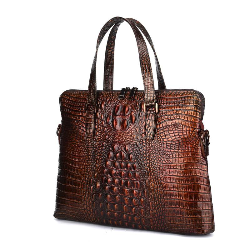 Genuine Leather Men Briefcase Bolso Hombre Negocios Crocodile Leather Laptop Computer Bag Business Men Handbags Bolso Ordenador