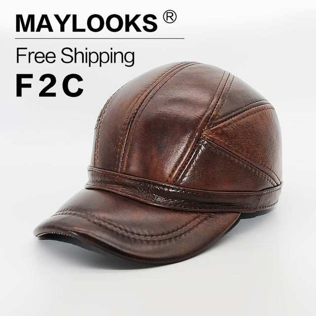1428b445ed70 Genuine Leather Hats 2018 Adult Unisex Baseball Cap Men s Winter With Ears  3 Color Highest Quality