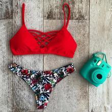 Bikini 2019 Offer Combined Size Floral Swimsuit Push Up Brazilian Set Bathing Suits Swimwear Women thong bikini