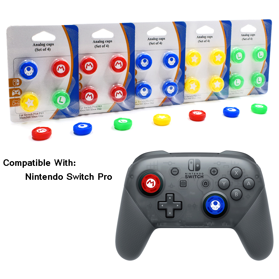 4 pcs High-quality Controller protective Silicone Caps Analog Case Cover Skin for Nintend Switch Pro Joysticks