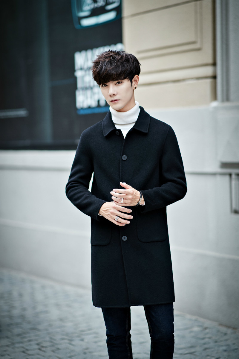 2018 Autumn And Winter Long Double Fleece Jacket Wool Business Casual Men's Coat Hand made Personality Fashion Gentleman Urban
