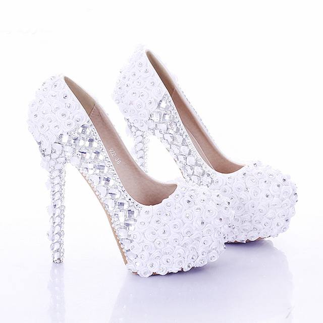 44f87c3a9e18 Rhinestone Wedding Party Prom Shoes White and Red Super High Heel Rose  Flower Bridal Dress Shoes Lady Platform Women High Heels