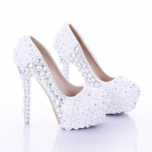 Rhinestone Wedding Party Prom Shoes White and Red Super High Heel Rose Flower Bridal Dress Shoes Lady Platform Women High Heels