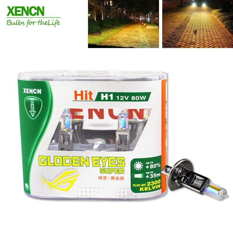 XENCN H1 2300K 12V 80W Golden Eyes Super Yellow Original Line Car Halogen Head Light OEM Quality Auto Lamp Free Shipping 2PCS golden eyes