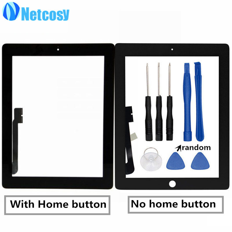 Netcosy Touch Screen Digitizer panel repair parts for iPad 4 A1458 A1459 A1460 & Tools repair parts for ipad 4 Touchscreen repair service level 2 included touch screen