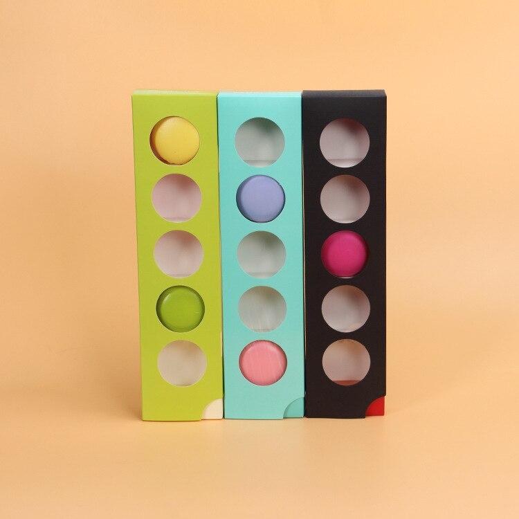 50 Pcs Macaron Box With Windows 5 Grids Cake Drawer Box Chocolates Candy Baking Paper Packing Boxes Wedding Party Birthday Kids