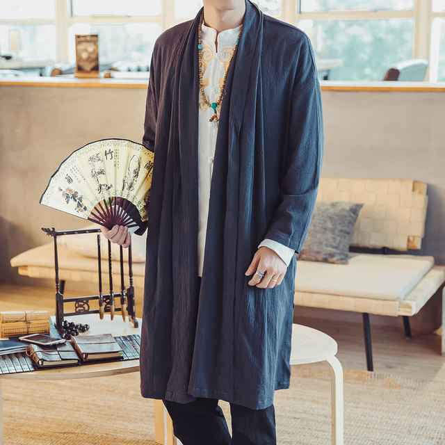 Male Solid Color Nepal Style Coat Outerwear Men Fashion Casual Long