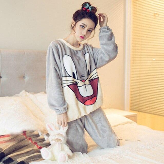 3ffa706212 Autumn Winter Women Pyjamas Sets Thick Warm Coral Velvet Suit Flannel Long  Sleeve Female Cartoon Animal Pants Sleepwear