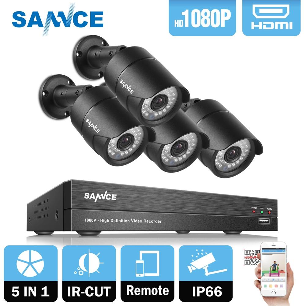 SANNCE 4CH 1080P HD CCTV Camera System kit 4pcs 2.0MP CCTV Security Camera IR indoor outdoor waterproof IP66 CCTV Surveillance vga 4ch color cctv security camera quad processor remote control