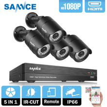 SANNCE 4CH 1080P HD CCTV Camera System kit 4pcs 2.0MP CCTV Security Camera IR indoor outdoor waterproof IP66 CCTV Surveillance