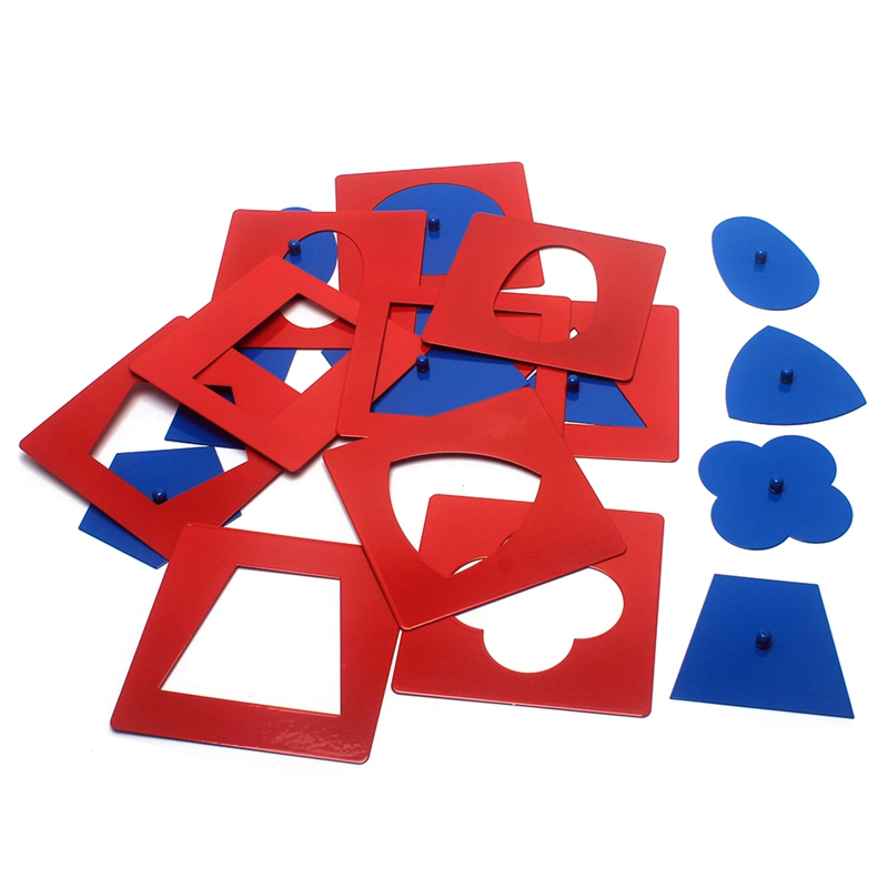 Baby Toys Montessori Materials Professional Quality Metal Insets Set 10 Early Childhood Education Preschool Geometrical Shapes