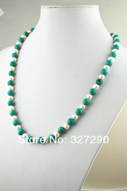 100% Natural Stone Jewlery 18'' Classic 8mm Natural Turquoise Fresh Water Pear Round Beads Necklace Free shipping