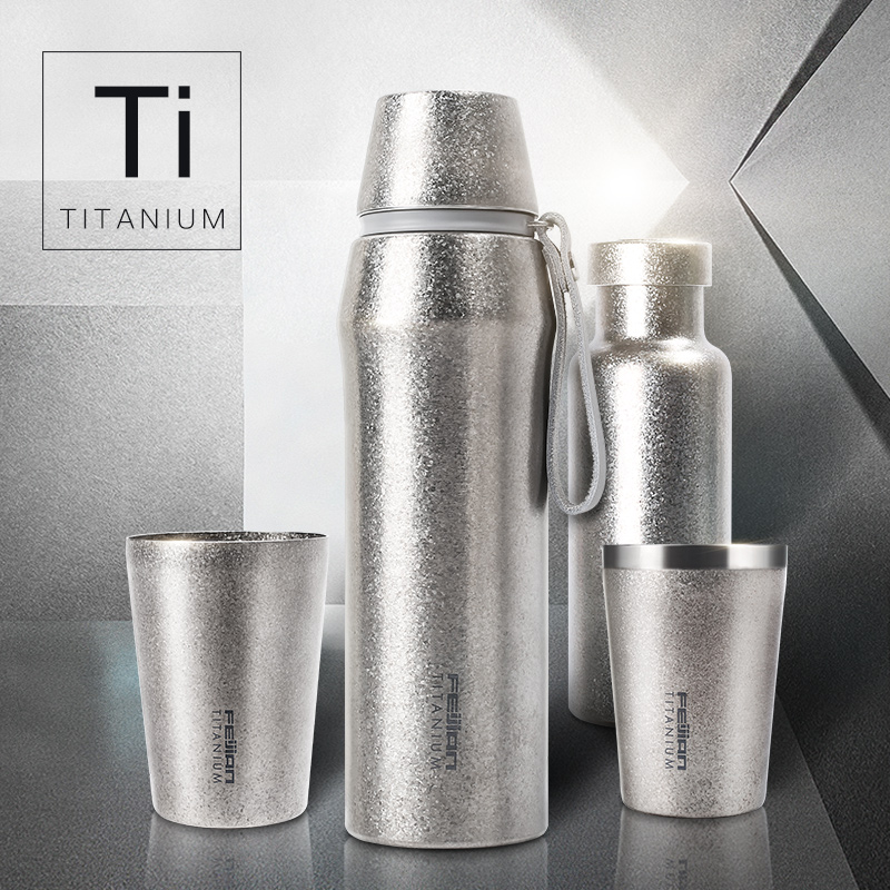 Feijian unique Titanium thermos sport bottle vacuum cup coffee mug tumbler kettle Luxury Premium gift Flask