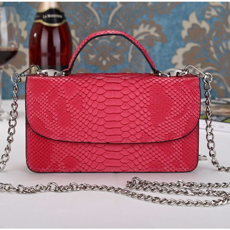 ФОТО 2017 Women Handbags Hot Pink Serpentine Chains Cover Shoulder Bags Messenger Bag Lady Crossbody Flap Totes Handbag Casual Tote