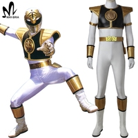 Tyranno Ranger White Ranger Cosplay Costume Adult Halloween Costume White Ranger Tommy Jumpsuit Zyuranger Cosplay Uniform