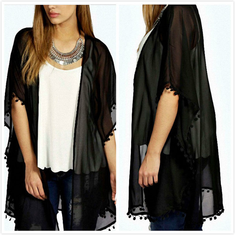 2019 Summer Sexy Women Kimono Cardigan Chiffon Tassel   Blouses     Shirts   Long Beach Cover Up Tops   Shirt   Black   Blouse   Dropshipping