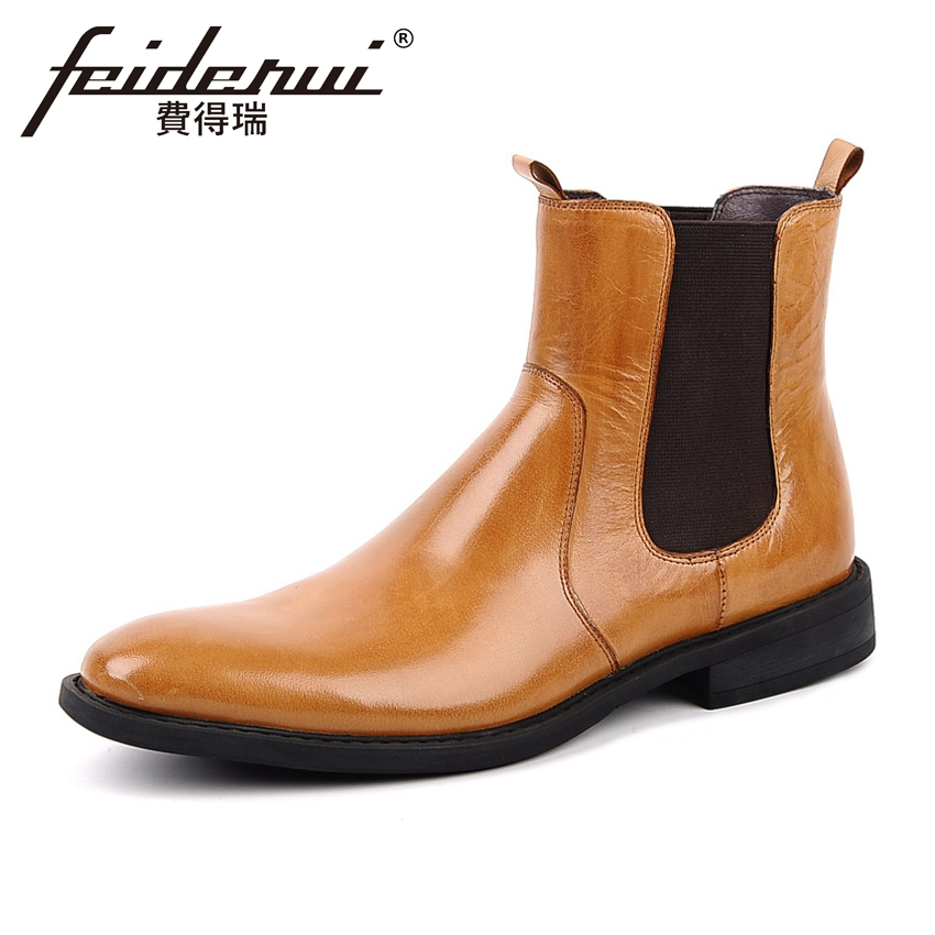 42e4c31683e US $95.04 12% OFF|Aliexpress.com : Buy High Quality Basic Genuine Leather  Men's Chelsea Ankle Boots British Round Toe High Top Handmade Cowboy Riding  ...