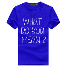 Justin Bieber what you mean letters print short-sleeved men kpop cotton T-shirt Summer tee shirt style Hispter male mma Tops