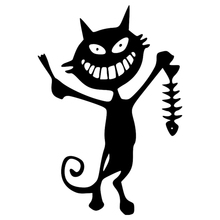 CS-1130#14*20cm fish skeleton and cat funny car sticker vinyl decal silver/black for auto stickers styling