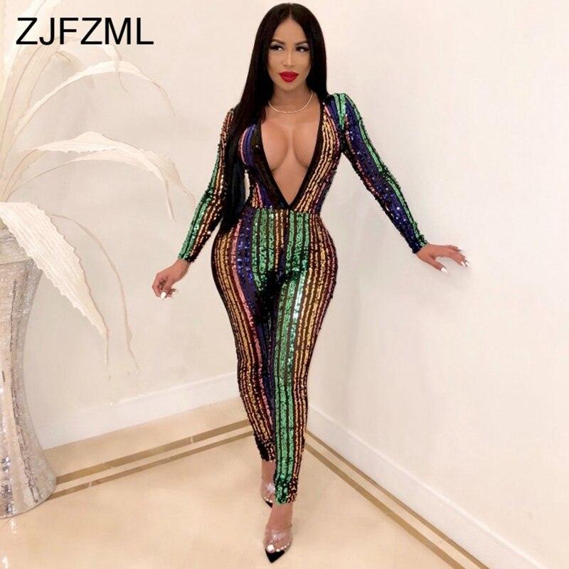 Rainbow Vertical Stripe Sequin   Jumpsuit   Sexy Shiny Deep V Neck Full Sleeve Bodycon Romper Retro Female Night Club Party Bodysuit