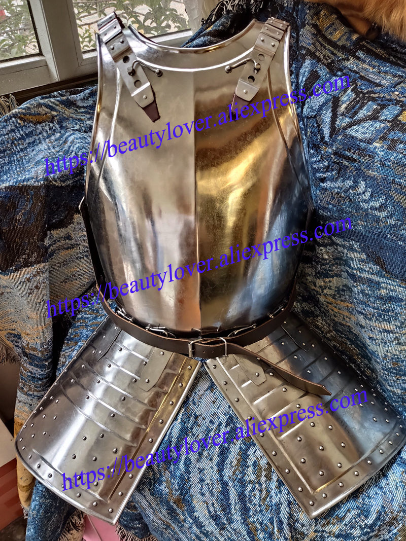 Silver Medieval Steel Armor Jacket Breast Plate One Size Fits Most