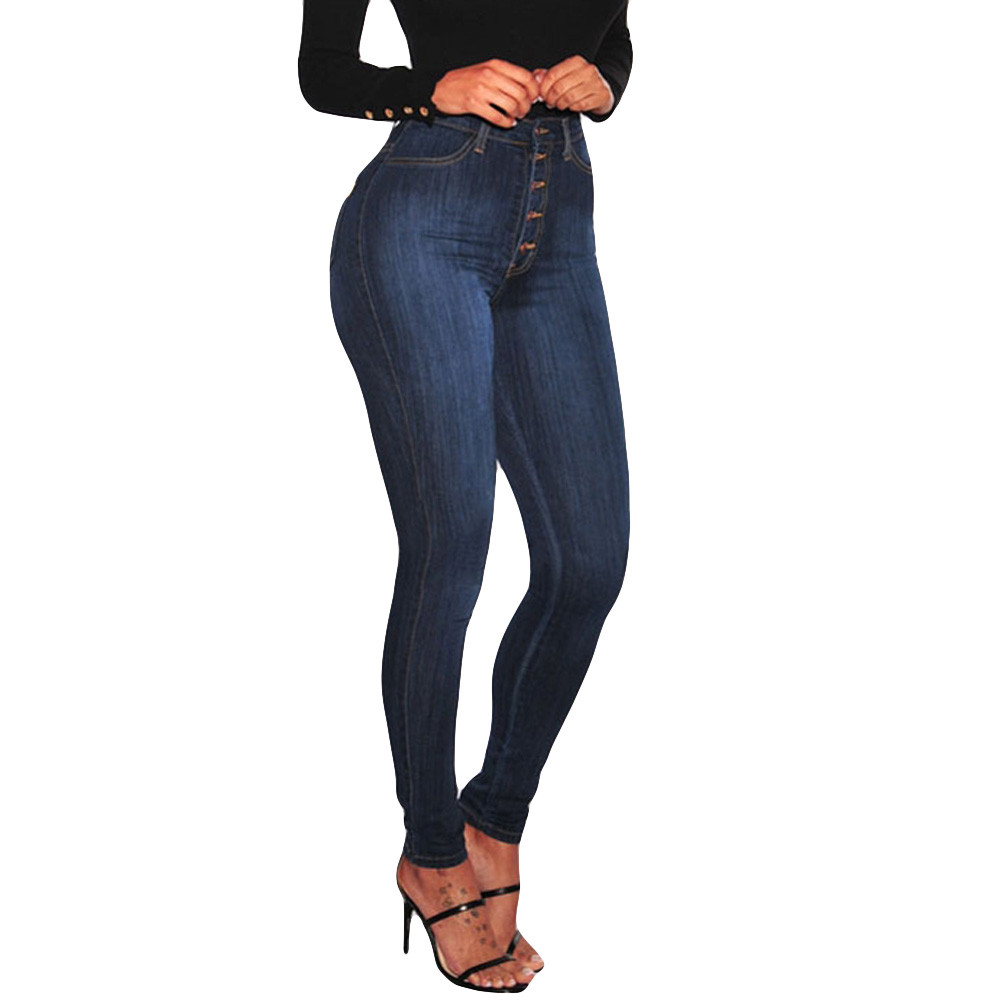 High Waist Jeans Woman Jeans Plus Size Ladies Denim For Women 2019 Button Solid Pockets Skinny Button Fly Pencil Jeans Feminino