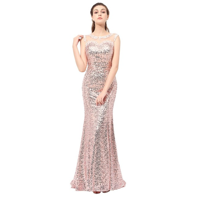 Hot Rose Gold Bridesmaid Dresses Gaun Pesta Pernikahan Rose Payet