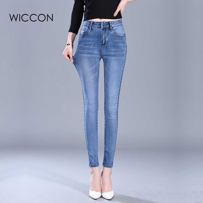 dc9fa513844 Лидер продаж элегантные узкие женские джинсы Тонкий узкие брюки мыть  прохладной Высокая талия джинсы роковой женщины