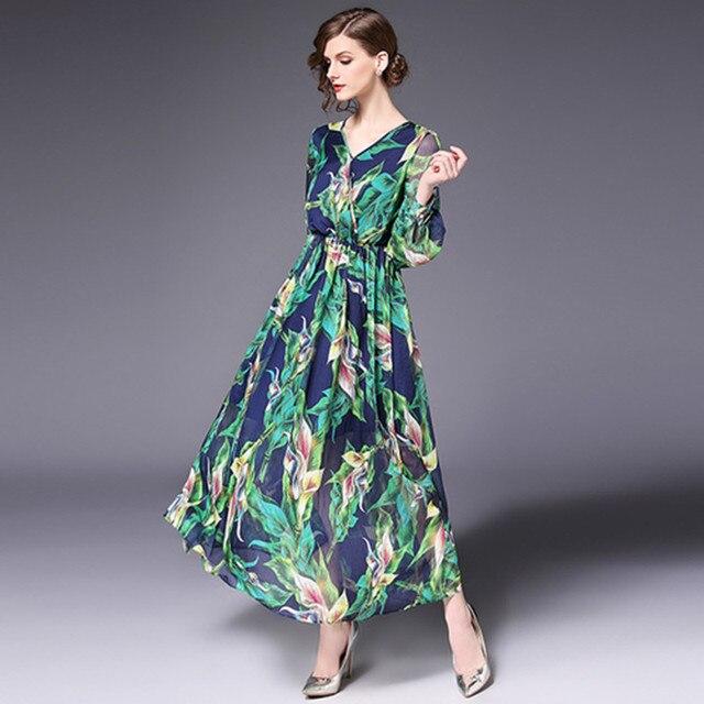 15653f19b31 Long Sleeve Dress Green Tropical Print Vintage Maxi Dresses Boho Casual V  Neck Belt Lace Up