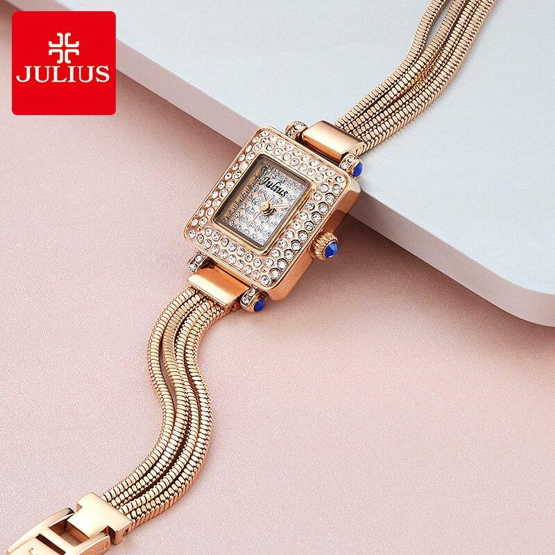 Full of Crystal Lady Women's Watch Japan Quartz Hours Fashion Snake Chain Tassels Bracelet Girl's Clock Gift Julius Box 698 lady of magick