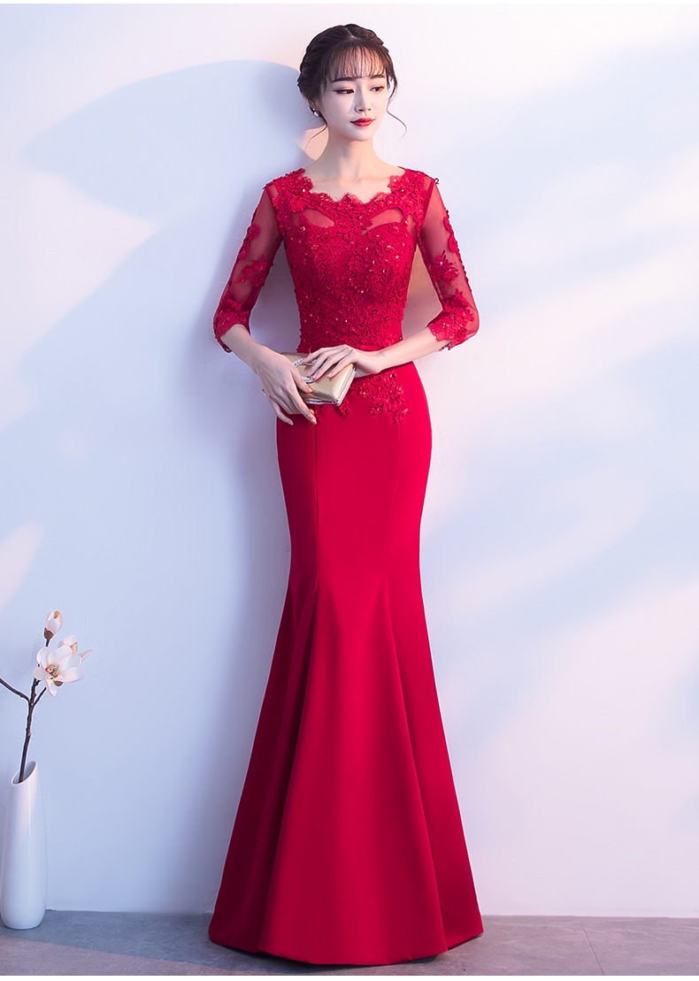 PotN\'Patio Wein Red Mermaid Prom Kleider Mit 3/4 Ärmeln Oansatz ...