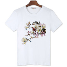 BGtomato white Plum blossom Chinese Classical t-shirt super beautiful flowers tshirt brand new good quality summer casual shirts