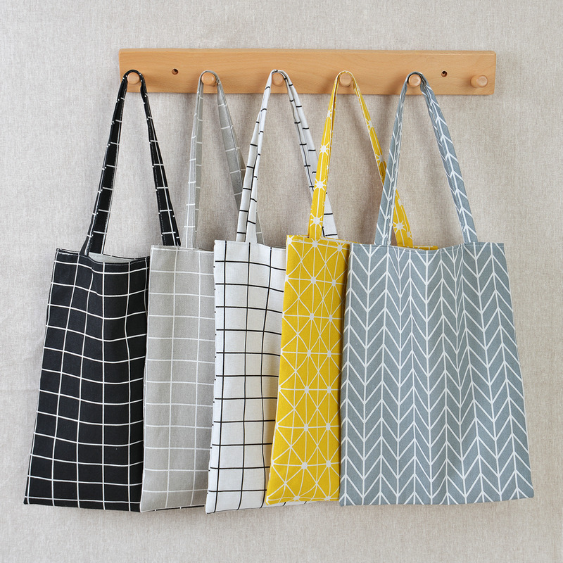 Fashionable And Durable Female Student Cotton Linen Shoulder Bag Shopping Tote Plaid Female Linen Canvas Shopping Bag