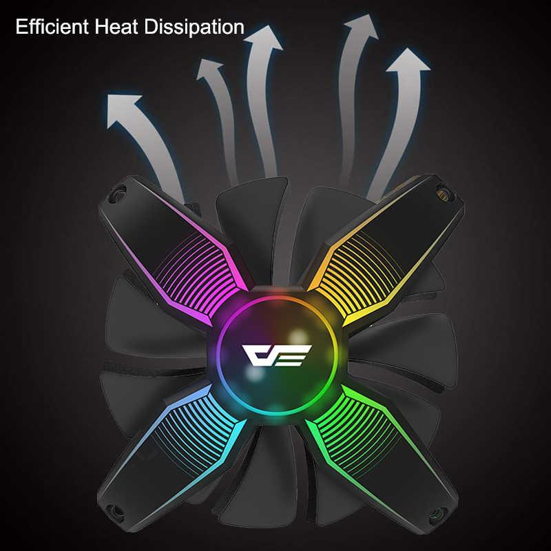 DarkFlash RGB PC حالة مروحة كمبيوتر مكتبي جدا الصامتة عالية تدفق الهواء فرملس مسند تبريد للاب توب مدمج به مكبر صوت 12 V 4pin الألعاب المشجعين الهيكل حالات