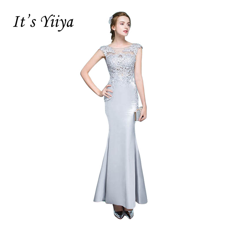 It's Yiiya Gray Illusion Mermaid Zipper Backless Trumpet Evening Dresses Floor Length Party Gown Evening Gown Prom Dresses LX034