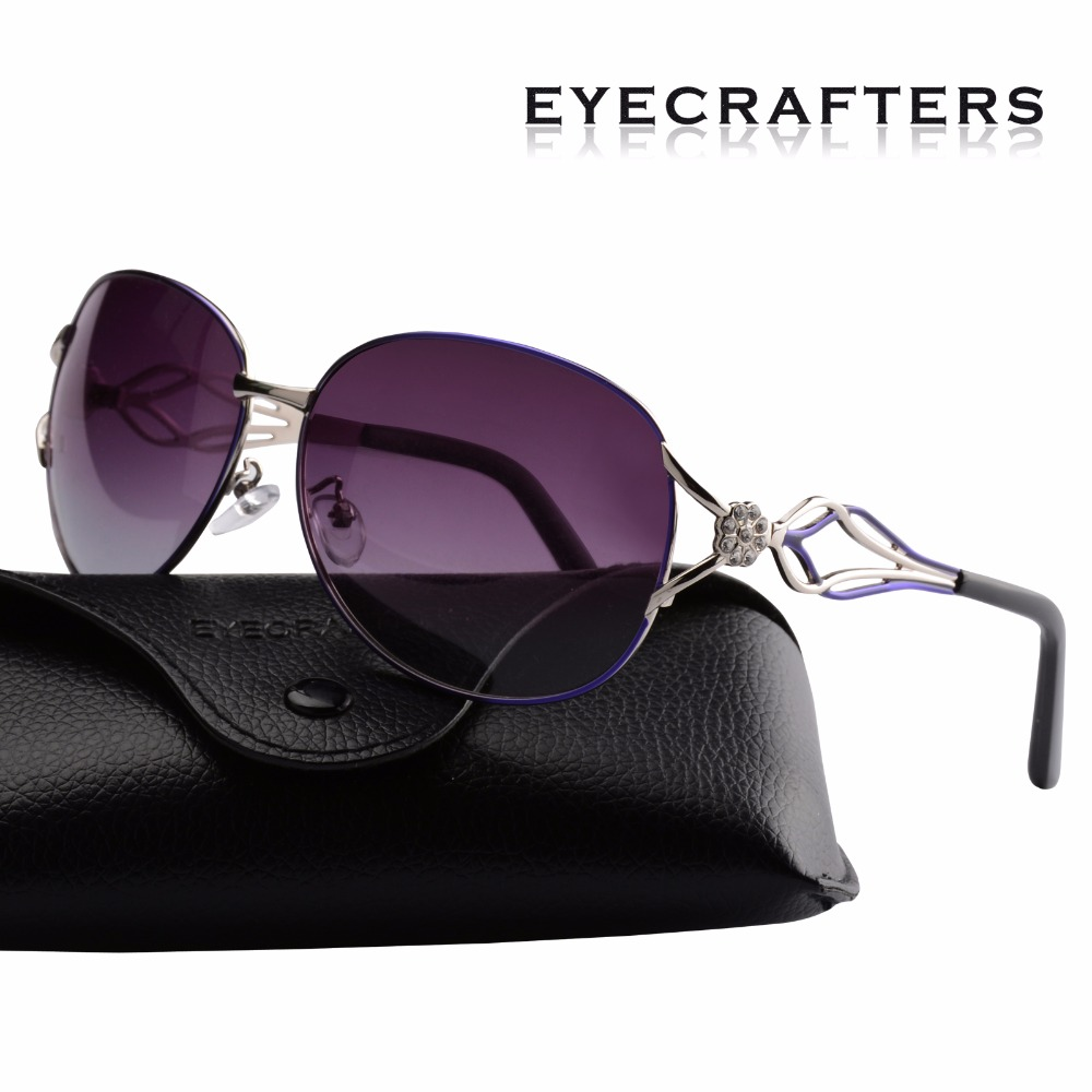 Eyecrafters Female Luxury Brand Designer Womens Sunglasses Polarized Retro Vintage Fashion Ladies Mirrored Eyewear Shades Purple