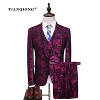 TIAN QIONG Latest Coat Pant Design Groom Tuxedos Red Flowers Print Men Prom Suits Wedding Best Man Blazer (Jacket+Pants+Vest)