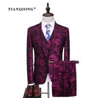 TIAN QIONG Latest Coat Pant Design Groom Tuxedos Red Flowers Print Men Prom Suits Wedding Best Man Blazer (Jacket+Pants+Vest)