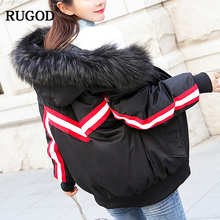 RUGOD 2018 Winter Fashion Female Wide-waisted Cotton Coat Office Lady Zipper Striped Thick Solid Hooded Outwear For Women