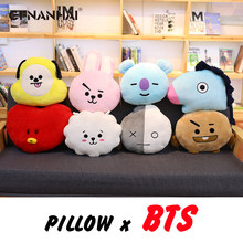 1pc Kpop Home Bangtan boys BTS bt21 vapp Pillow warm bolster Q back cushion Plush Doll TATA VAN COOKY CHIMMY SHOOKY KOYA RJ MANG(China)