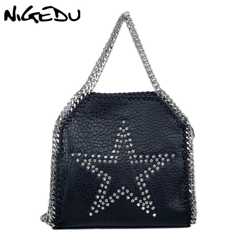 NIGEDU Rivet Star Women Handbag brand design Chain Crossbody bag for women's Shoulder bag Soft PU leather black female Totes цена