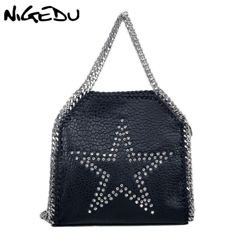 NIGEDU Rivet Star Women Handbag brand design Chain Crossbody bag for womens Shoulder bag Soft PU leather black female Totes