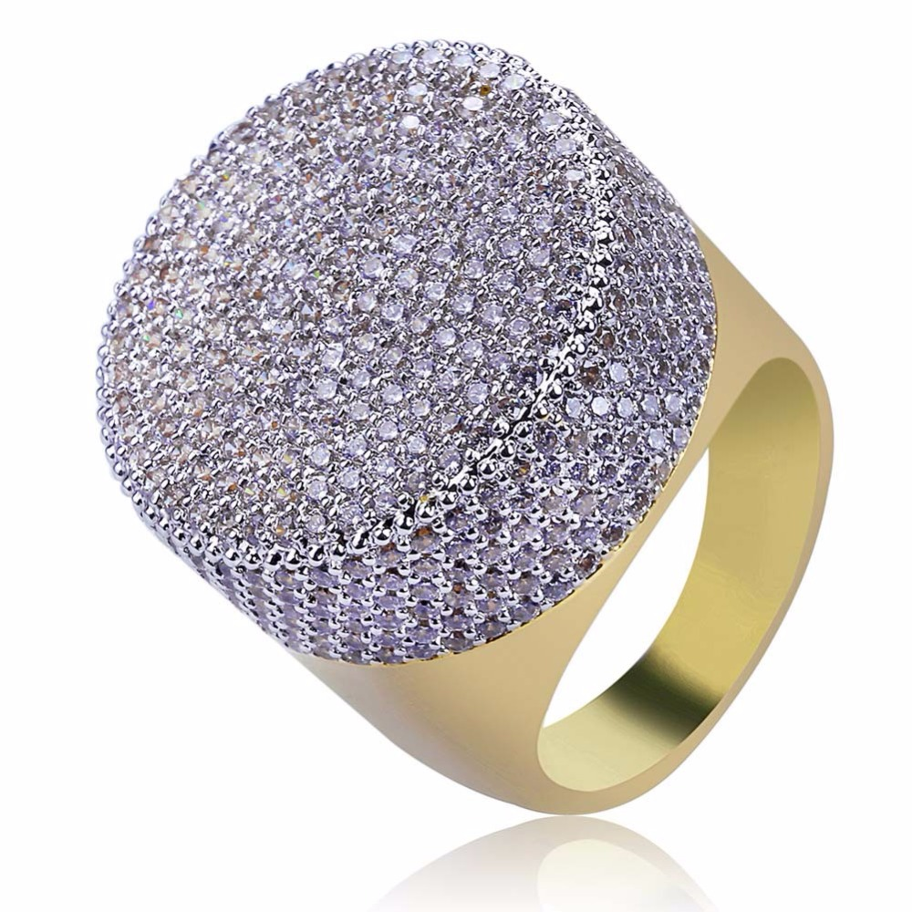 Hip Hop Luxury Full AAA CZ Zircon Ice Out Bling Golden Ring Gold Color Round Big Wide Mens Signet Rings Rappers Jewelry 7 11
