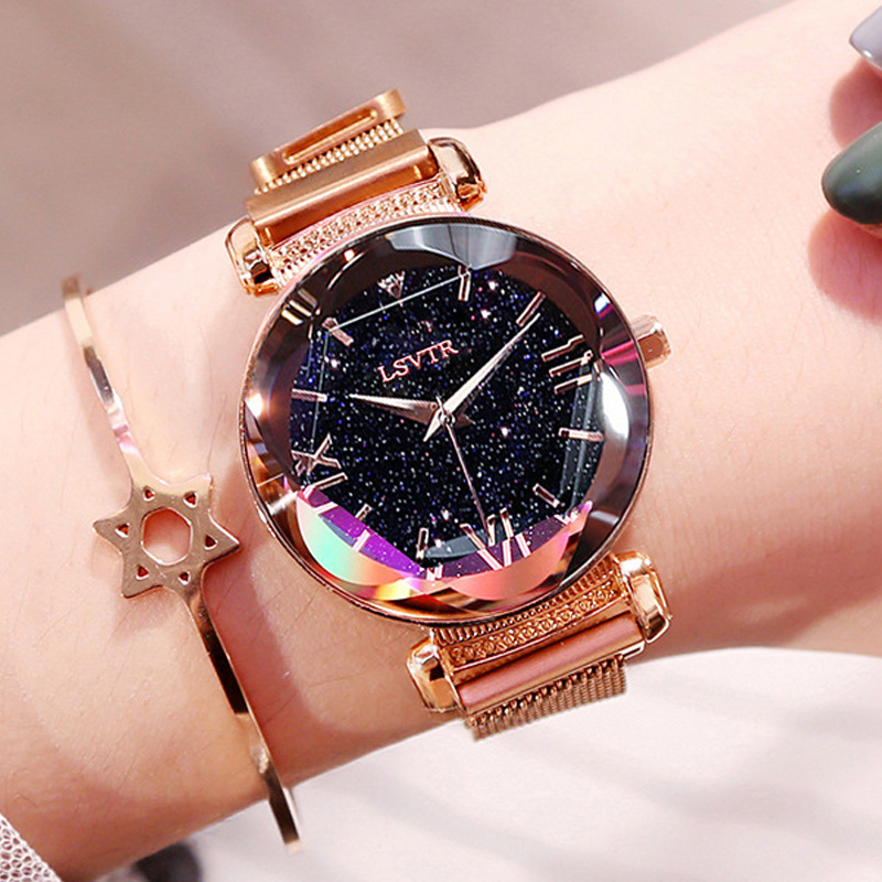 Luxury Rose Gold Women Watches Fashion Waterproof Magnetic Starry Sky Ladies Quartz Wristwatch 2019 New Roman Numeral Gift Clock