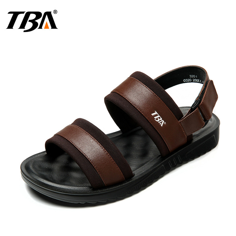 2018 New Fashion Genuine Leather Summer Men Sandals Shoes Men Breathable Casual Hook Loop Beach Man Sandals Brown Sandalen Heren